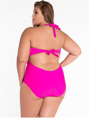 Latest Cut Out Halter Ruched One Piece Swimsuit - 2XL ROSE Mobile