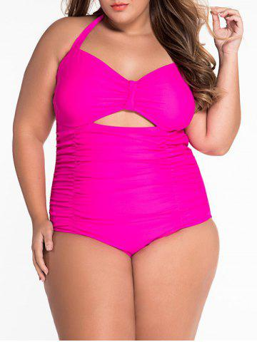 Online Cut Out Halter Ruched One Piece Swimsuit ROSE 3XL