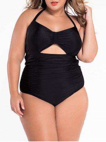 Cut Out Halter Ruched One Piece Swimsuit - Black - 2xl