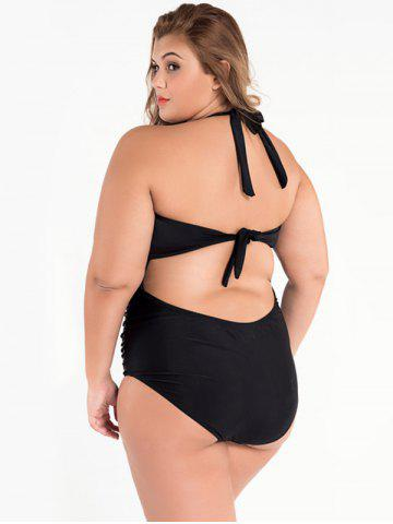 Outfit Cut Out Halter Ruched One Piece Swimsuit - 3XL BLACK Mobile