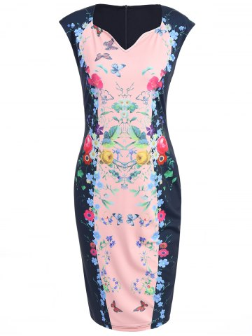 Latest Knee Length Bodycon Floral Fitted Dress