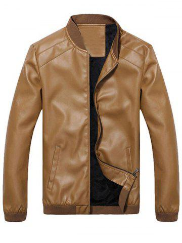 Fancy Side Pocket Zip Up Faux Leather Flocking Jacket