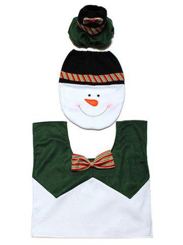 Outfits Christmas Supplies Snowman Bathroom Toilet Closestool Floor Mats - WHITE AND GREEN  Mobile