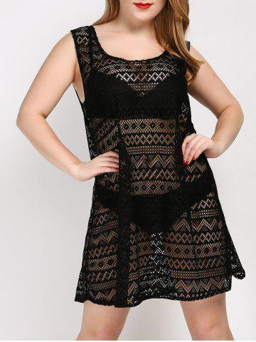 Hot Plus Size See Thru Cover Up Beach Dress - ONE SIZE BLACK Mobile