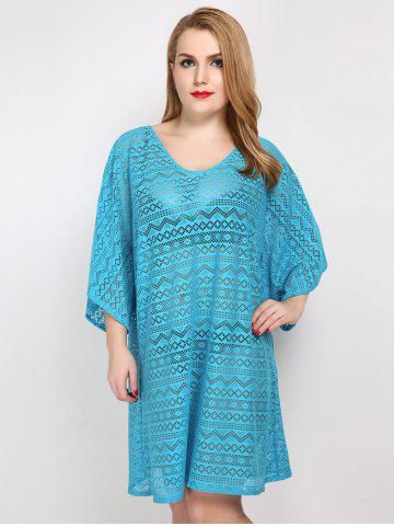 Plus Size Hollow Out Sheer Lace Cover Up - Lake Blue - One Size