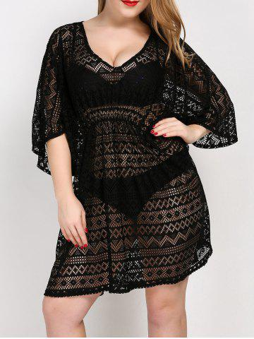 Buy Plus Size V Neck Tunic Dress Cover Up - ONE SIZE BLACK Mobile