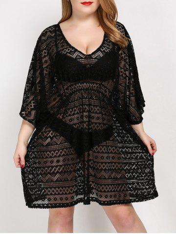 Hot Plus Size V Neck Tunic Dress Cover Up - ONE SIZE BLACK Mobile