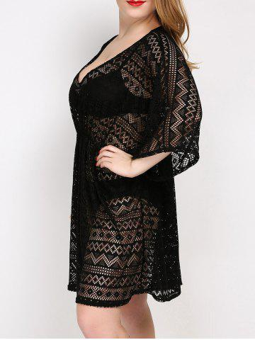 Shops Plus Size V Neck Tunic Dress Cover Up - ONE SIZE BLACK Mobile