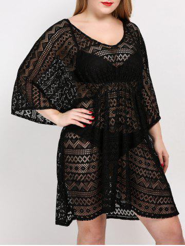 Best Plus Size V Neck Tunic Dress Cover Up - ONE SIZE BLACK Mobile
