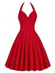 Lace-Up Halter Vintage Corset Club Dress - RED 2XL