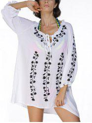 Low Cut Embroidered Tunic Beach Cover-Up Dress
