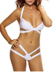 Alluring Halter White Bikini Set For Women