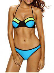 Sexy Strapless Push Up Color Block Women's Bikini Set -
