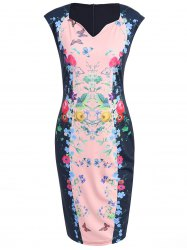 Knee Length Bodycon Floral Fitted Dress