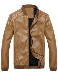 Side Pocket Zip Up Faux Leather Flocking Jacket -