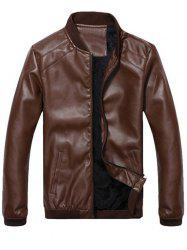 Side Pocket Zip Up Faux Leather Flocking Jacket