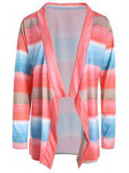 Collarless Long Sleeve Color Block Asymmetrical Knit Cardigan - COLORMIX