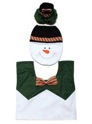 Christmas Supplies Snowman Bathroom Toilet Closestool Floor Mats - WHITE AND GREEN