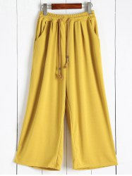 Elastic Waist Palazzo Pants with Pockets - GINGER