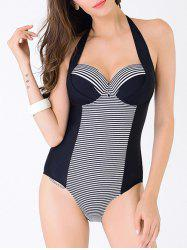 Plus Size Pinstripe Trim Vintage One-Piece Swimsuit