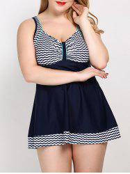 High Waist Striped Plus Size One Piece Swimwear