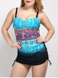 Cut Out Colorful Plus Size One Piece Swimwear