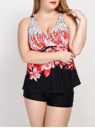 V Neck Floral Plus Size Tankini Swimwear