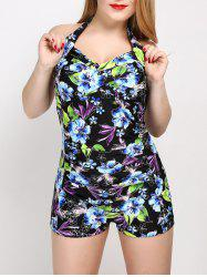 Halter Floral Plus Size One Piece Swimwear