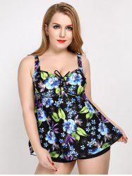 Plus Size Floral Print Backless Tankini Set