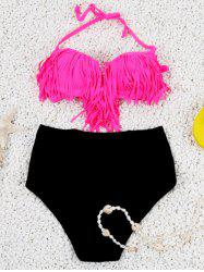 Halter High Waisted Bikini Set With Fringe Top