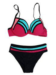 Spaghetti Strap Contrast Striped Bikini Set