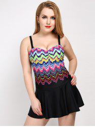 Plus Size Colorful Zigzag One Piece Swimwear