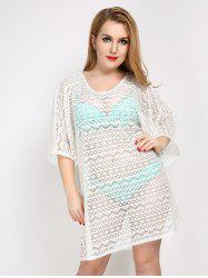 Plus Size Hollow Out Sheer Lace Cover Up