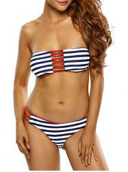 Sexy Strapless Striped Hollow Out Women's Bikini Set