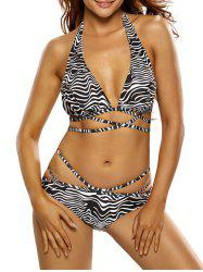 Sexy Halterneck Zebra Print Bikini Set For Women