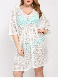 Plus Size V Neck Tunic Dress Cover Up - WHITE