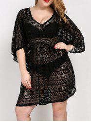 Plus Size V Neck Tunic Dress Cover Up - BLACK