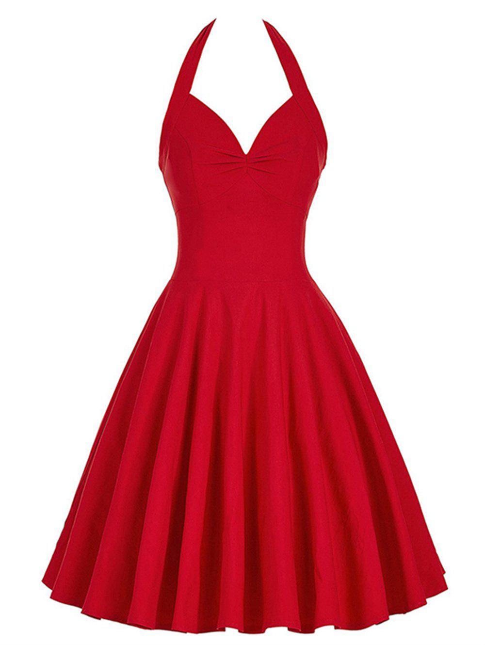 2018 Lace Up Halter Vintage Swing Corset Club Dress In Red
