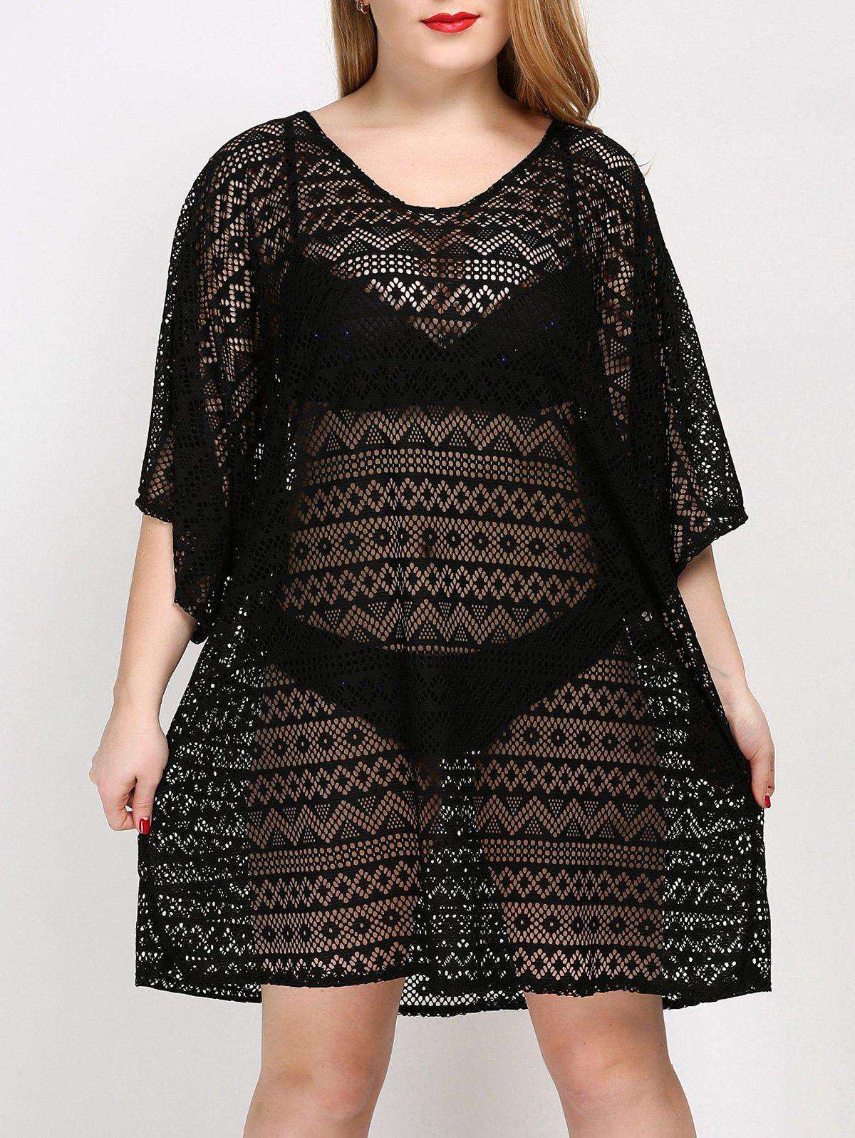 Plus Size Backless Cover Up DressWOMEN<br><br>Size: ONE SIZE; Color: BLACK; Gender: For Women; Swimwear Type: Cover-Up; Material: Polyester; Bra Style: One-piece; Support Type: Wire Free; Pattern Type: Solid; Waist: Natural; Weight: 0.3000kg; Package Contents: 1 x Cover Up;