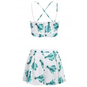 Stylish Printed Crop Top and Pleated Shorts Women's Suit -