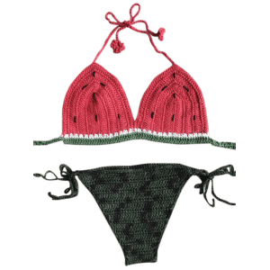 Stylish Halter Watermelon Pattern Crochet Women's Bikini Set - WATERMELON RED ONE SIZE