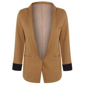 Long Front Pockets Blazer - BROWN M