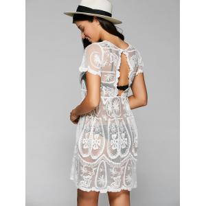 Sexy col rond manches courtes See-Through Cover Up de femmes -