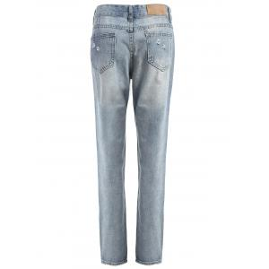 Figure Print Distressed Jeans - CLOUDY L