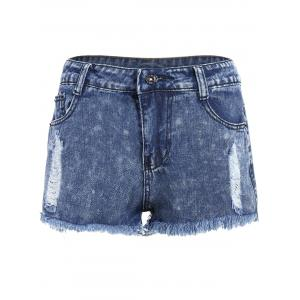 Ripped High Waisted Jeans Shorts - Deep Blue - L