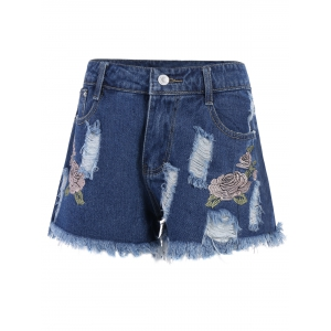 Floral Embroidered Frayed High Waist Jeans Shorts - Deep Blue - L
