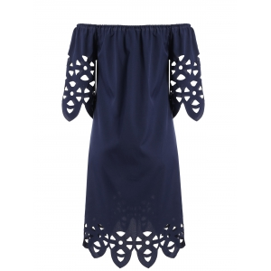 Openwork Off-The-Shoulder Shift Casual Dress Day - PURPLISH BLUE M