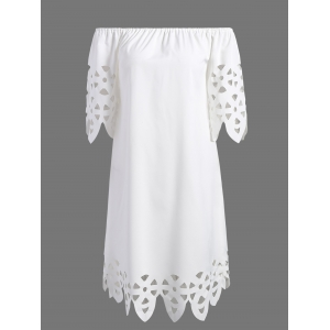 Openwork Off-The-Shoulder Shift Casual Dress Day - White - L