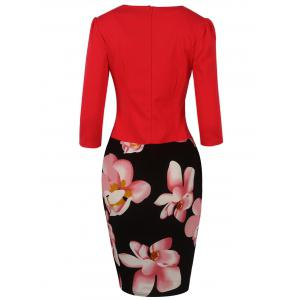 Floral Mid Length Pencil Dress - RED 4XL