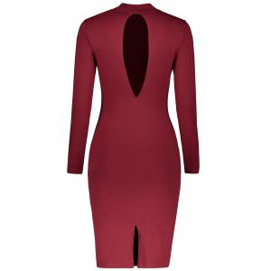 Mock Neck Long Sleeve Back Cutout Pencil Dress - WINE RED M